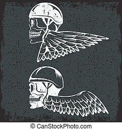 thema, schedels, fietser, vleugels, etiket