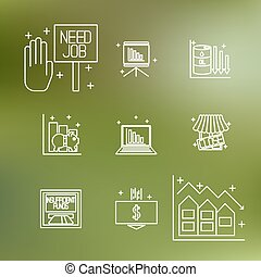 thema, set, economisch, crisis, iconen