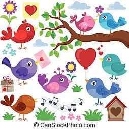 thema, vögel, valentine