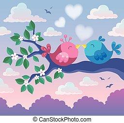 thema, vögel, zweig, valentine