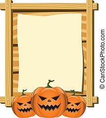 thema, vector, halloween, plank, leeg