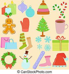 thema, winter, /, kerstmis