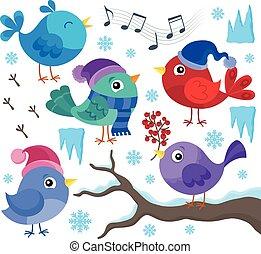thema, winter, vögel