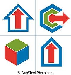 thema, zakelijk, abstract, groei, symbolen, innovations, set, icons., vector, arrows., ontwerp onderdelen, concept