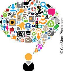 thema's, gesprek, set, iconen