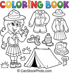 thematics, esploratore, libro colorante