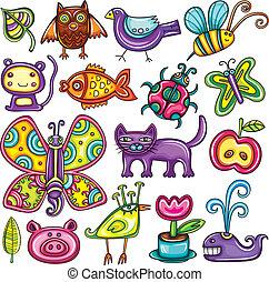 theme., 动物群, 植物群