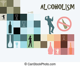 Theme of alcoholism as a disease of addiction to alcohol. Vector illustration.