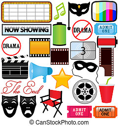 Drama, Entertainment, Film, movie - Theme of vector Icons : ...