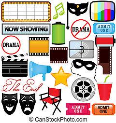 Theme of vector Icons : Drama, Entertainment, Film, movie