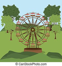 Theme park design over landscape background, vector ...