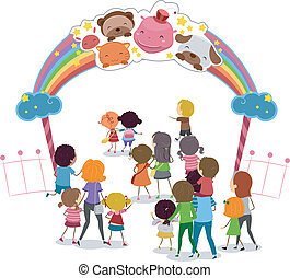 Theme Park Entrance - Illustration of Families Entering a...