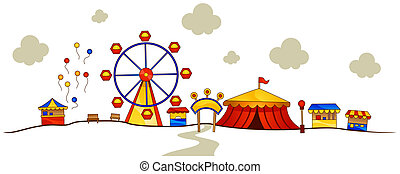 Theme Park with Clipping Path