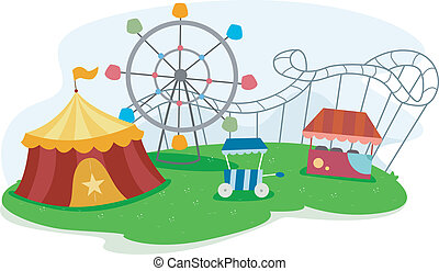 Theme Park with Rides - Illustration of a Theme Park with...