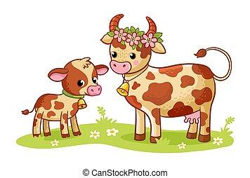 theme., posición, verde, vaquita, meadow., ilustración, ...
