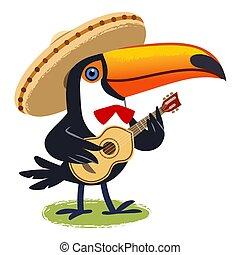 theme., tropicale, cartone animato, il portare, divertimento, gioco, ozio, mariachi, carino, illustration., vacanza, sombrero, eredità, tucano, musica, vettore, cultura, felice, chitarra, intrattenimento, vihuela, messicano