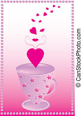 Theme valentine day - The pink background with a cup full of...
