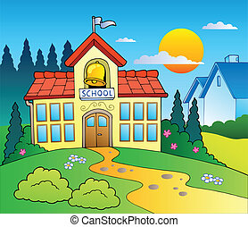 Theme with big school building - vector illustration.