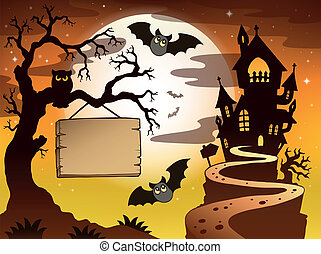 Theme with Halloween silhouette 3