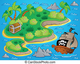 Theme with island and treasure 1 - vector illustration.