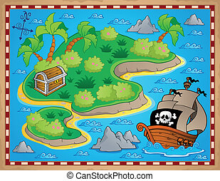 Theme with island and treasure 2 - vector illustration.