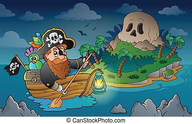 Theme with pirate skull island 3