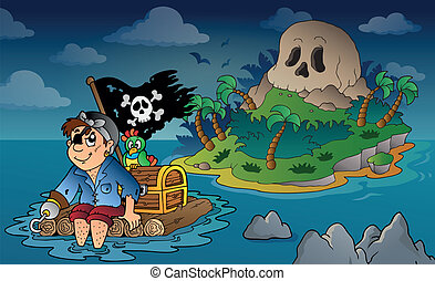 Theme with pirate skull island 5