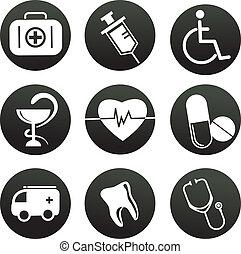 themed, ícones médicos, cobrança, pretas, branca
