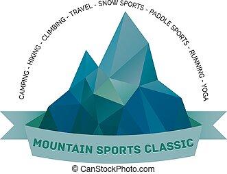 themed, ロゴ, 屋外で, 紋章, 山