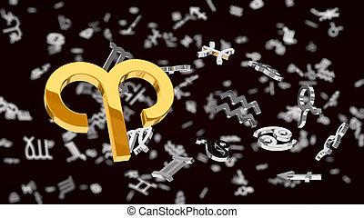 themed, 3d, illustration, une, choosen, bélier, signe, astrologie