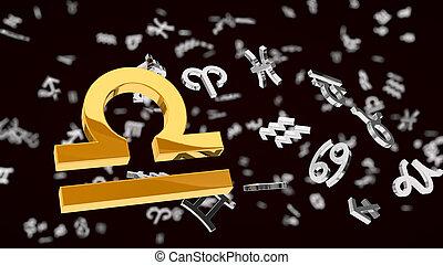 themed, 3d, illustration, une, choosen, balance, signe, astrologie