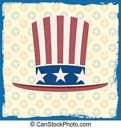 themed, amerykańska bandera, retro, tło, grungy, kapelusz