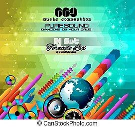 themed, clube, fundo, voadores, música, discoteca
