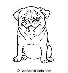 themed, conception, sourire, élément, regarder drôle, noir, animaux familiers, dessiné, blanc, logo., heureux, chiens, séance, carlin, main, portrait., forward., dessin animé, chien, carlin, icône
