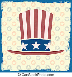 themed, drapeau américain, retro, fond, grungy, chapeau