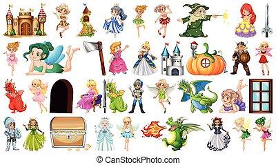 themed, fantasía, conjunto, grande