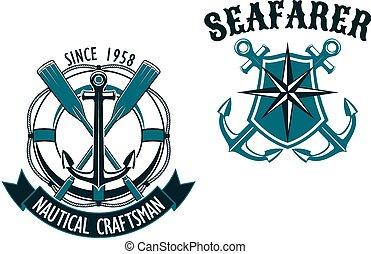 themed, marin, nautique, insignes