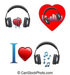 themed, promo, écouteurs, emblèmes, musique, cœurs