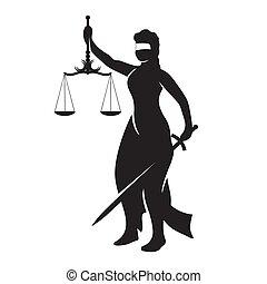 themis, biały, czarnoskóry, wizerunek, sprawiedliwość, dama, sylwetka, wektor, odizolowany, tło.