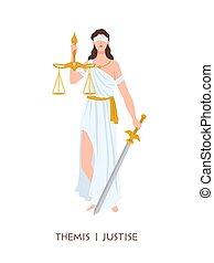 themis, carácter, hembra, antiguo, justicia, -, espada, ...