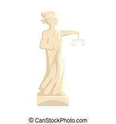 Themis Femida statue, Lady of Justice cartoon vector Illustration
