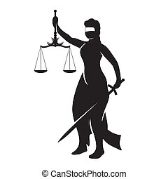 Themis lady justice is a black silhouette on a white isolated background. Vector image