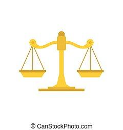 Themis libra icon, flat style