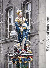 Themis statue in the historical center of Bern, Switzerland...