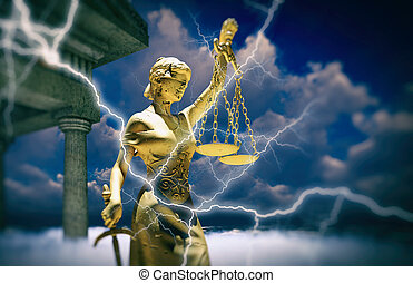 themis, tribunal, illustration, 3d