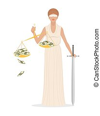 Themis with sword and scales - Vector illustration of a...