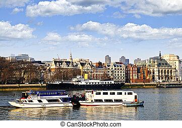 themse, skyline, fluß, london