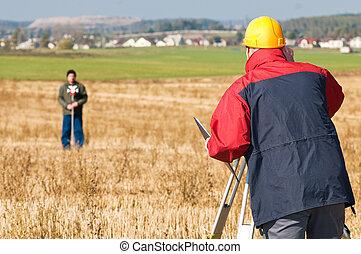 theodolite, arbeiten, surveyot