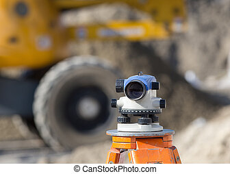 Theodolite at construction site - Surveying measuring...