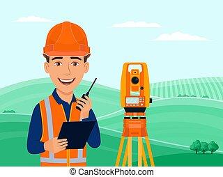 theodolite, caricatura, agrimensor, sorrizo, estação, cartógrafo, personagem, total, examinar, cadastral, engenheiro, equipment.